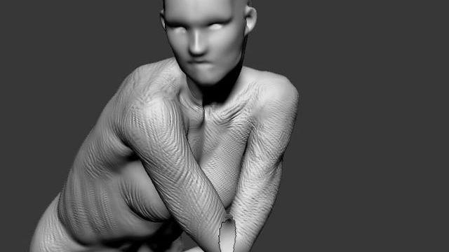 female closed off pose, quick sculpt time lapse