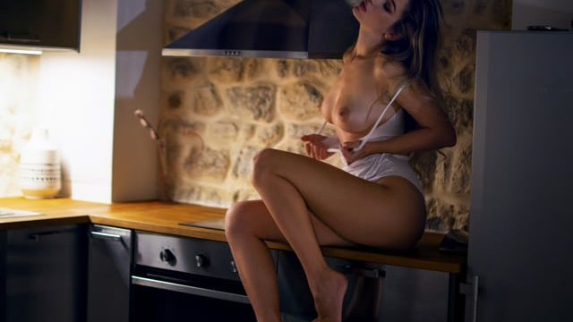 Marianna sexy model alone in the kitchen