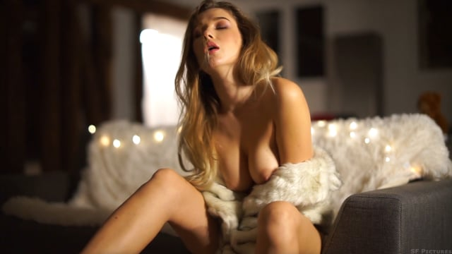 Marianna with sexy red lingerie and topless