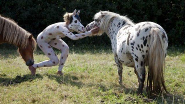 Dalmatian Pony body-painting by Amit Bar